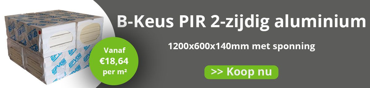 B-Keus PIR 2-zijdig Aluminium 1200x600x140mm met sponning Rd:6,36